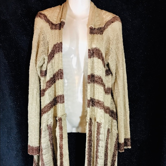 Free People Sweaters - Free People Creme w Plum Stripes Knit Cardigan,Med